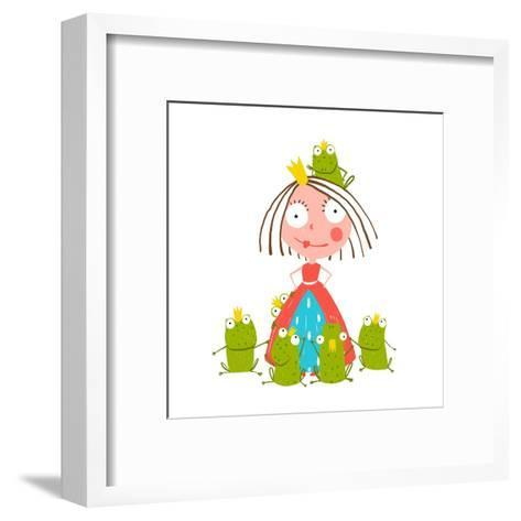 Princess and Many Prince Frogs Portrait Colored Drawing. Colorful Fun Childish Hand Drawn Illustrat-Popmarleo-Framed Art Print