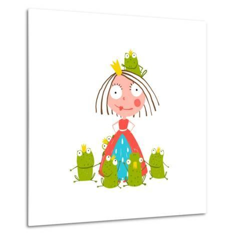 Princess and Many Prince Frogs Portrait Colored Drawing. Colorful Fun Childish Hand Drawn Illustrat-Popmarleo-Metal Print