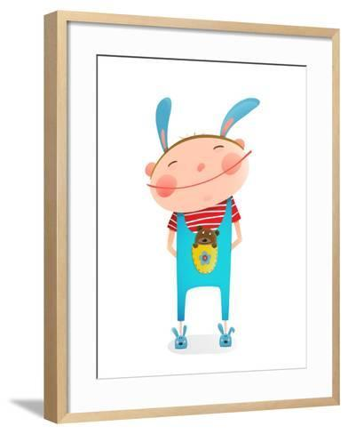 Little Boy with Bear Cub Funny Cute Toy in Pocket. Small Kid with Toy. Happy Child Smiling Wearing-Popmarleo-Framed Art Print