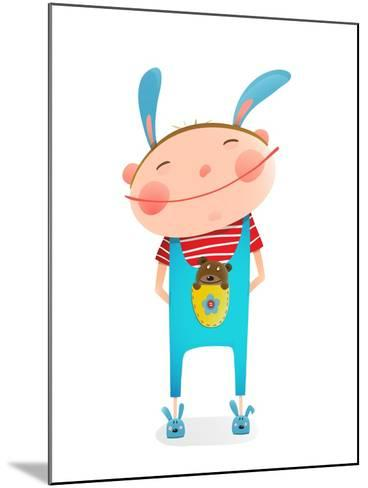 Little Boy with Bear Cub Funny Cute Toy in Pocket. Small Kid with Toy. Happy Child Smiling Wearing-Popmarleo-Mounted Art Print