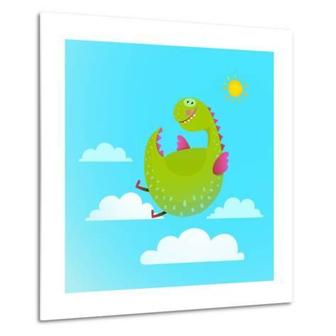 Dragon Flying in Sky Colorful Cartoon for Kids. Dragon Flying Fun Cute Cartoon with Clouds and Sun-Popmarleo-Metal Print