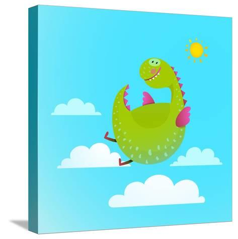 Dragon Flying in Sky Colorful Cartoon for Kids. Dragon Flying Fun Cute Cartoon with Clouds and Sun-Popmarleo-Stretched Canvas Print