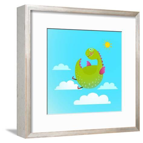 Dragon Flying in Sky Colorful Cartoon for Kids. Dragon Flying Fun Cute Cartoon with Clouds and Sun-Popmarleo-Framed Art Print