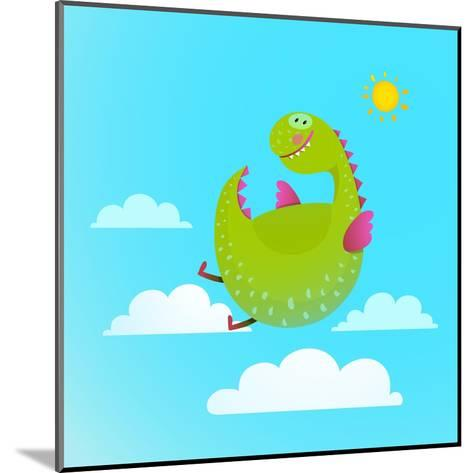 Dragon Flying in Sky Colorful Cartoon for Kids. Dragon Flying Fun Cute Cartoon with Clouds and Sun-Popmarleo-Mounted Art Print
