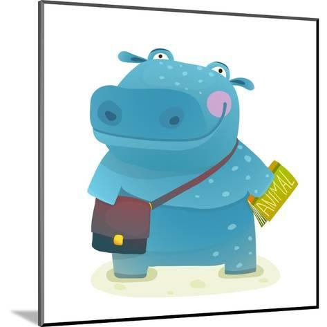 Hippopotamus Kid Student with Book and Bag Going to School. Happy Fun Watercolor Style Pupil Animal-Popmarleo-Mounted Art Print