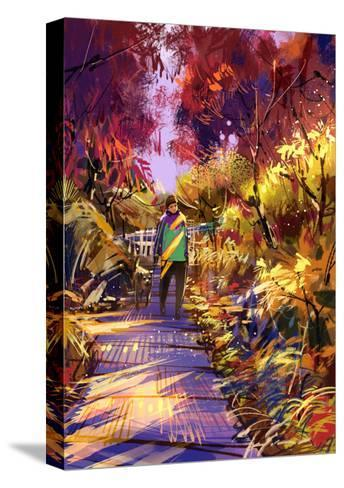 Man Taking Dog on Walk in Autumn,Digital Painting,Illustration-Tithi Luadthong-Stretched Canvas Print