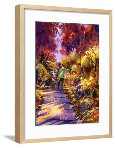 Man Taking Dog on Walk in Autumn,Digital Painting,Illustration-Tithi Luadthong-Framed Art Print