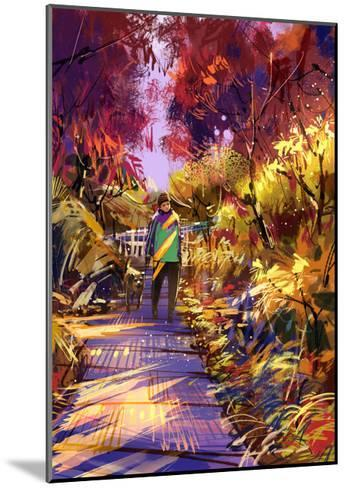 Man Taking Dog on Walk in Autumn,Digital Painting,Illustration-Tithi Luadthong-Mounted Art Print