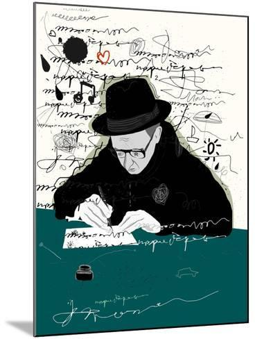 Symbolic Image of a Man Who Writes a Letter with Pen and Ink-Dmitriip-Mounted Art Print