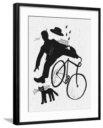 Image of a Cyclist Who Was Scared of a Black Cat. Translated from Chinese - Stop Prejudices-Dmitriip-Framed Art Print