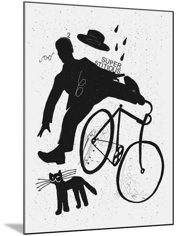 Image of a Cyclist Who Was Scared of a Black Cat. Translated from Chinese - Stop Prejudices-Dmitriip-Mounted Art Print