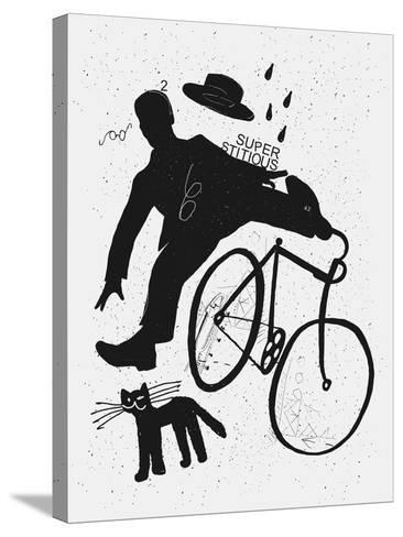 Image of a Cyclist Who Was Scared of a Black Cat. Translated from Chinese - Stop Prejudices-Dmitriip-Stretched Canvas Print