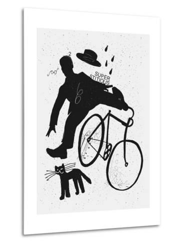 Image of a Cyclist Who Was Scared of a Black Cat. Translated from Chinese - Stop Prejudices-Dmitriip-Metal Print