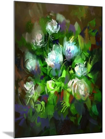 Digital Painting Showing Bunch of White Flowers,Illustration-Tithi Luadthong-Mounted Art Print
