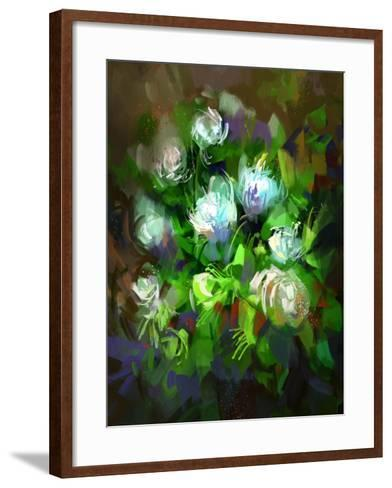 Digital Painting Showing Bunch of White Flowers,Illustration-Tithi Luadthong-Framed Art Print