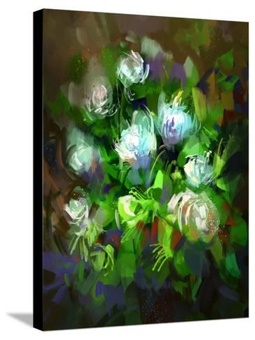 Digital Painting Showing Bunch of White Flowers,Illustration-Tithi Luadthong-Stretched Canvas Print