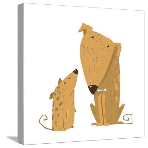 Two Cartoon Brown Dog Parent and Kid. Animal Pet Friend, Drawing Puppy, Breed Doggy, Vector Illustr-Popmarleo-Stretched Canvas Print