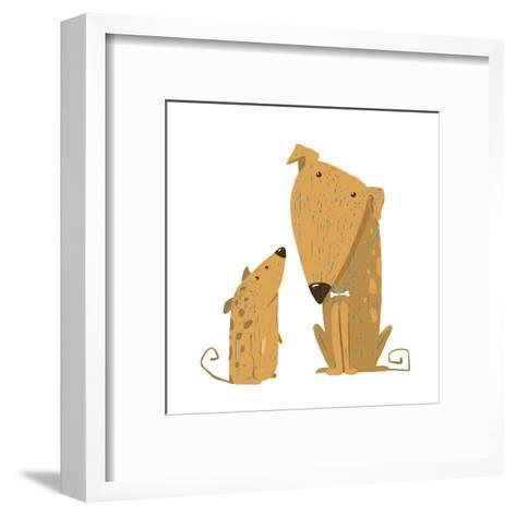 Two Cartoon Brown Dog Parent and Kid. Animal Pet Friend, Drawing Puppy, Breed Doggy, Vector Illustr-Popmarleo-Framed Art Print