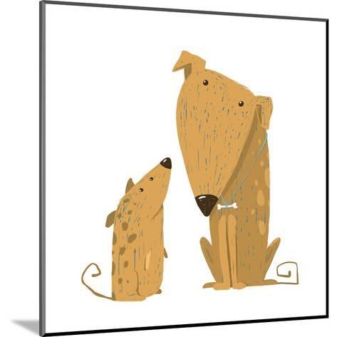 Two Cartoon Brown Dog Parent and Kid. Animal Pet Friend, Drawing Puppy, Breed Doggy, Vector Illustr-Popmarleo-Mounted Art Print