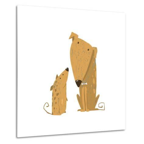Two Cartoon Brown Dog Parent and Kid. Animal Pet Friend, Drawing Puppy, Breed Doggy, Vector Illustr-Popmarleo-Metal Print