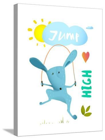 Rabbit Jumping Rope for Kids. Hare Jumping High Skipping Animal Cartoon Watercolor Style, Vector Il-Popmarleo-Stretched Canvas Print