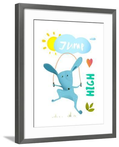 Rabbit Jumping Rope for Kids. Hare Jumping High Skipping Animal Cartoon Watercolor Style, Vector Il-Popmarleo-Framed Art Print
