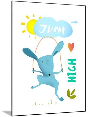 Rabbit Jumping Rope for Kids. Hare Jumping High Skipping Animal Cartoon Watercolor Style, Vector Il-Popmarleo-Mounted Art Print