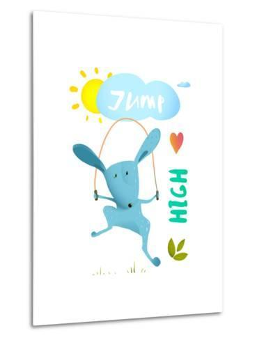 Rabbit Jumping Rope for Kids. Hare Jumping High Skipping Animal Cartoon Watercolor Style, Vector Il-Popmarleo-Metal Print