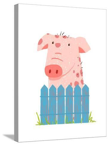 Funny Cartoon Pig Sitting over Fence. Childish Hand Drawn Cartoon of a Little Pig on Farm. Vector I-Popmarleo-Stretched Canvas Print