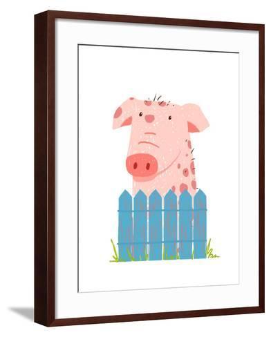 Funny Cartoon Pig Sitting over Fence. Childish Hand Drawn Cartoon of a Little Pig on Farm. Vector I-Popmarleo-Framed Art Print