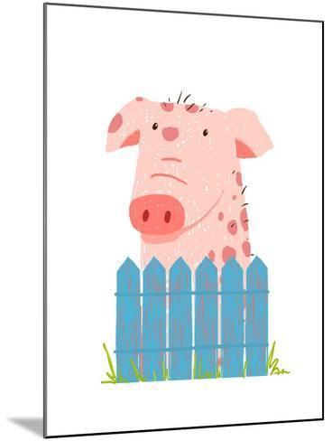 Funny Cartoon Pig Sitting over Fence. Childish Hand Drawn Cartoon of a Little Pig on Farm. Vector I-Popmarleo-Mounted Art Print