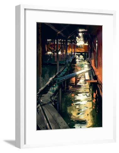 Wooden Bridge across Canals in Fishing Village,Digital Painting,Illustration-Tithi Luadthong-Framed Art Print