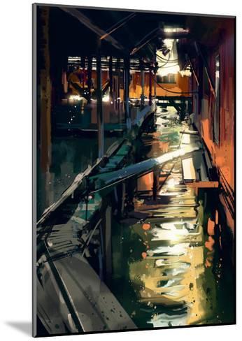 Wooden Bridge across Canals in Fishing Village,Digital Painting,Illustration-Tithi Luadthong-Mounted Art Print