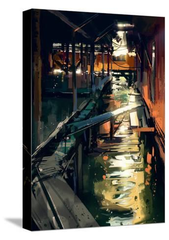 Wooden Bridge across Canals in Fishing Village,Digital Painting,Illustration-Tithi Luadthong-Stretched Canvas Print