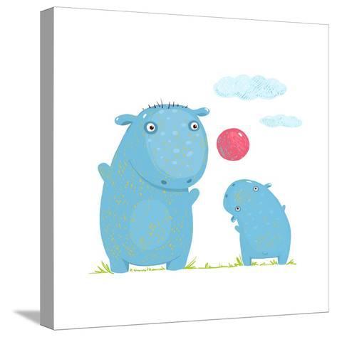 Hippopotamus Parent Playing Ball with a Child. Mammal Parent Animal Cartoon Wildlife, Cheerful Hipp-Popmarleo-Stretched Canvas Print
