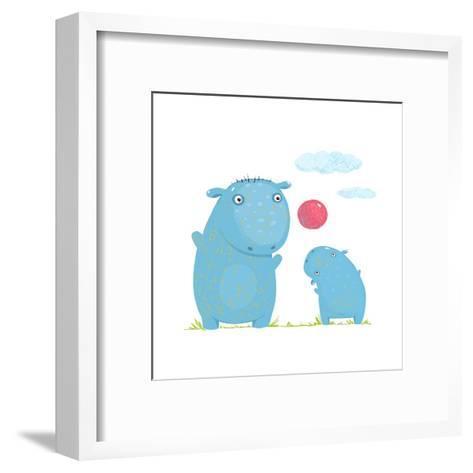 Hippopotamus Parent Playing Ball with a Child. Mammal Parent Animal Cartoon Wildlife, Cheerful Hipp-Popmarleo-Framed Art Print