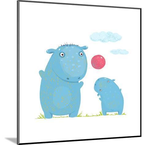 Hippopotamus Parent Playing Ball with a Child. Mammal Parent Animal Cartoon Wildlife, Cheerful Hipp-Popmarleo-Mounted Art Print
