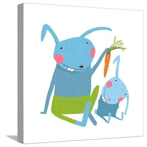 Hare and Leveret Eating Carrot . Animal Parent Bunny with Kid, Vegetarian Vegetable Eating, Vector-Popmarleo-Stretched Canvas Print
