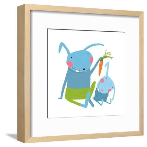 Hare and Leveret Eating Carrot . Animal Parent Bunny with Kid, Vegetarian Vegetable Eating, Vector-Popmarleo-Framed Art Print