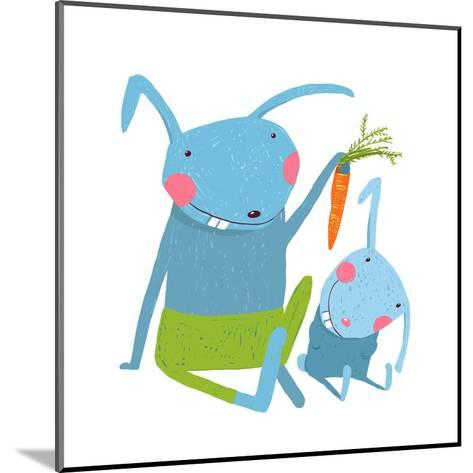 Hare and Leveret Eating Carrot . Animal Parent Bunny with Kid, Vegetarian Vegetable Eating, Vector-Popmarleo-Mounted Art Print