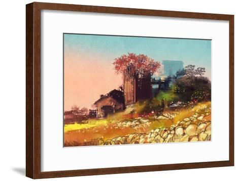 Painting of Farm House on the Country Side,Illustration-Tithi Luadthong-Framed Art Print