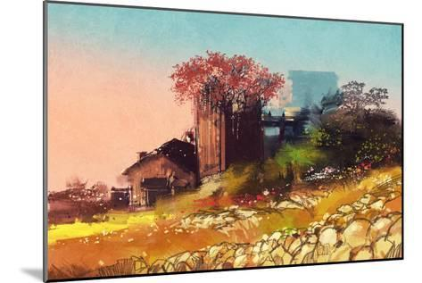 Painting of Farm House on the Country Side,Illustration-Tithi Luadthong-Mounted Art Print