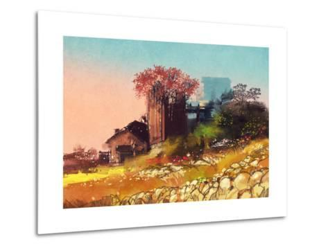 Painting of Farm House on the Country Side,Illustration-Tithi Luadthong-Metal Print