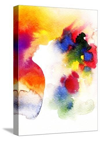 Abstract Watercolor .Woman Face-Anna Ismagilova-Stretched Canvas Print