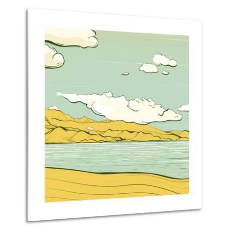 Landscape Background with Clouds and Mountains. Savage Scenery Vector Illustration Eps8.-Popmarleo-Metal Print