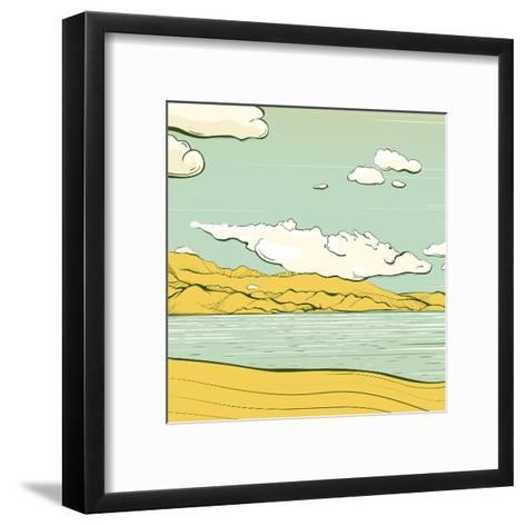 Landscape Background with Clouds and Mountains. Savage Scenery Vector Illustration Eps8.-Popmarleo-Framed Art Print