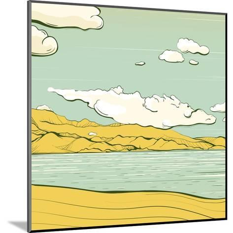 Landscape Background with Clouds and Mountains. Savage Scenery Vector Illustration Eps8.-Popmarleo-Mounted Art Print