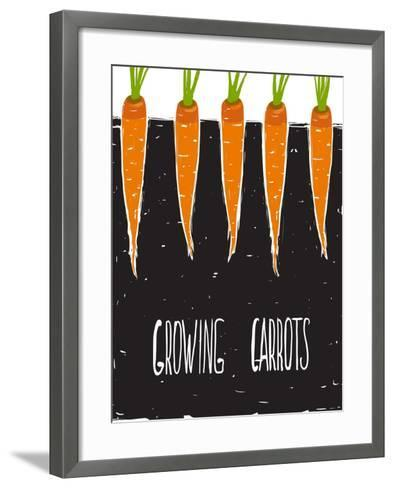 Growing Carrots Freehand Drawing and Lettering. Bed of Carrots Scribble Illustration. Vector Eps8.-Popmarleo-Framed Art Print