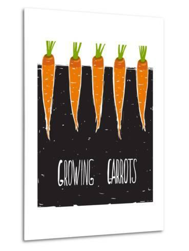 Growing Carrots Freehand Drawing and Lettering. Bed of Carrots Scribble Illustration. Vector Eps8.-Popmarleo-Metal Print