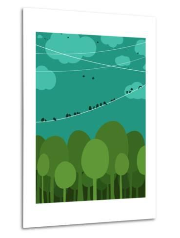 Forest and Birds Sitting on Wires Graphic Design. Nature Landscape Background. Vector Eps8 Illustra-Popmarleo-Metal Print